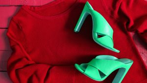 Womens clothing, footwear (blue blouse, leather terracotta shoe